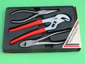 Snap On Pl300b Red Handle Pliers Vacuum Grip Needle Nose Diagonal Cutter