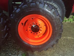 Kubota New Wheels With New 27x8 50 15 Titan Loader Tread Tires pair