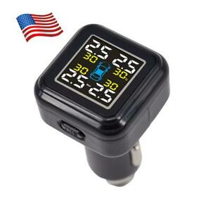 Hot Tpms Solar Wireless Tire Pressure Lcd Monitoring System W 4 External Sensor