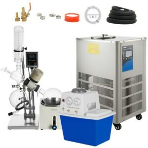 5l Rotary Evaporator With Vacuum Pump Chiller 0 90rpm Lcd Screen Water Bath