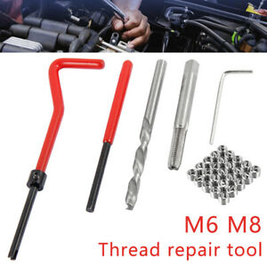 30pc M6 M8 Compatible Helicoil Restoring Thread Repair Wire Insert Kit Drill Bit