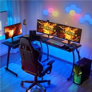 L shape Coner Computer Desk Office Table Pc Laptop Workstation Wood Modern Black
