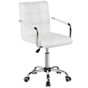 Ergonomic Modern White Pu Faux Leather Swivel Office Computer Desk Task Chair