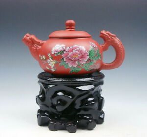 Yixing Zisha Clay Flower Blossoms Teapot W Dragon Spout Handle 175ml Free Stand