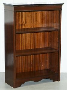 Nice Vintage Mahogany Dwarf Open Bookcase Adjustable Shelves 118cm Tall 81cm Wid