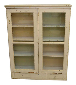 Antique French Hand Painted Off White Wall Or Standing Bookcase Cabinet Kitchen