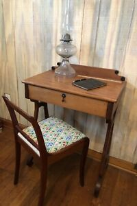Beautiful Antique Lyre Petite Child S Writing Desk Vanity And Chair