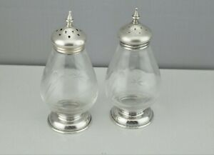 Vintage Sterling Silver Caps Bases With Etched Glass Salt Pepper Shakers