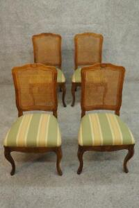 Superior Quality 4 French Louis Xvi Side Dining Chairs Cained Back Sturdy