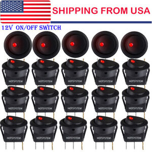 20x Rocker Switch Toggle 12v Red Led Light Car Auto Boat Round On off Spst 20a