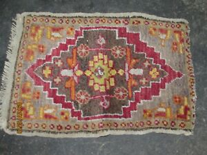 Antique Persian Rug 25x17 Hand Made Prayer Antique Old Red Gold Cross Design