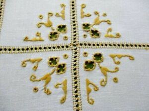 Antique Table Center Hand Embroidered Linen