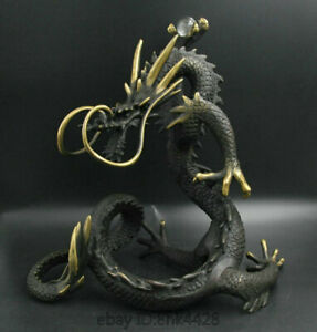 10 Chinese Exquisite Bronze Gilt General Crystal Ball On The Dragon Statue