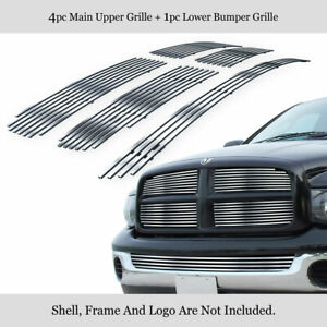 Fits 2002 2005 Dodge Ram Stainless Polished Chrome Billet Grille Insert Combo