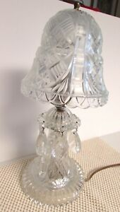 Vintage Pressed Glass Boudour Prism Lamp 12 13 Tall Clip On Glass Shade