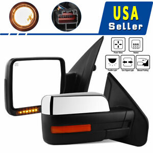 For 07 13 Chevy Silverado Tow Mirrors Power Heated Smoke Led Signals Clearance