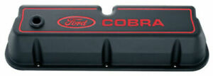 Proform 302 056 Aluminum Valve Covers Sbf Tall Black red Cobra Lettering