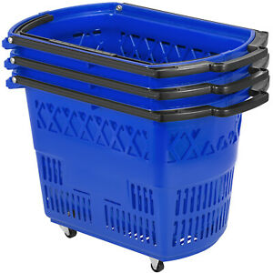 3pcs Blue Shopping Basket 75lbs 34kg 75lbs Metal Handles Pp Convenience Store