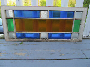 Vtg Victorian 44 Wide 16 Tall Over The Tub Privacy Stained Glass Sash Window