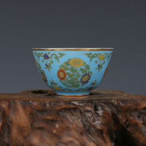 China Antique Porcelain Ming Chenghua Light Blue Gilt Hand Painting Flower Cup