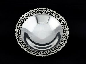 Vintage Egyptian 900 Silver Reticulated Footed Bowl Dish 135 6 Grams
