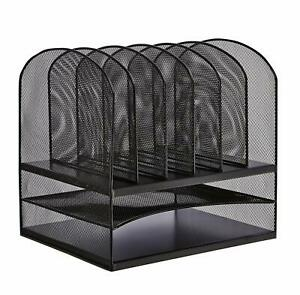 Safco Products Onyx Mesh 2 Tray 6 Sorter Desktop Organizer Durable Steel
