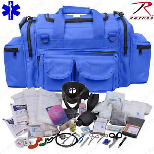 Deluxe Blue Emt ems Medic Bag With Supplies Rothco Emt Medical Trauma Kit