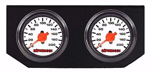 Air Ride Suspension White Single Needle Air Gauges Double Display Panel 200psi