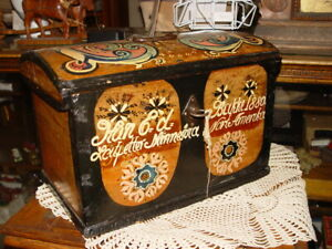 19th C Scandinavian Small Folk Art Painted Dome Topped Chest Trunk Dated 1880