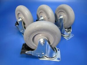 Lot Of 4 New Colson 5 X 1 5 16 Rubber Swivel Plate Casters Wheels W Brake