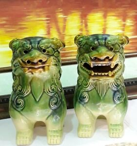 Vintage Mid Century Pair Of Asian Ceramic Green Blue Temple Foo Dogs