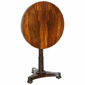 Rare William Iv Rosewood Round Tilt Top Card Side Occasional Wine Lamp End Table