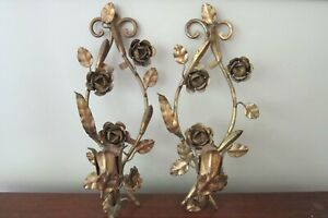 Pair Of Vintage Italian Gold Gilt Tole Leaves Flower Candle Wall Sconces 14