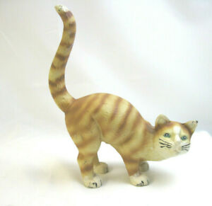 Vintage Hubley Cast Iron Yellow Scaredy Cat Arched Back Long Tail Doorstop