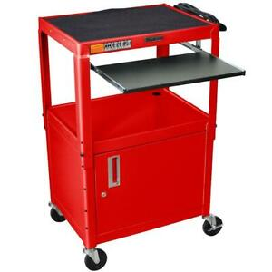 Luxor Avj42kbc rd 24 X 18 inch Red Metal A v Cart With Tray And Cabinet