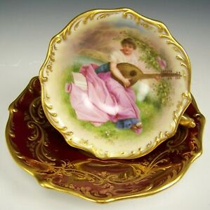 Rare Royal Vienna Hand Painted Musik Raised Gold Demitasse Footed Cup Saucer