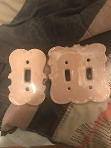 Vintage Ceramic Light Switch Plates Victorian Peach Rose Color