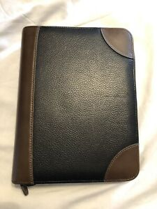 Franklin Covey Classic Black And Brown Leather Binder