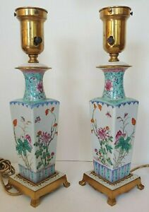 Stunning Antique Chinese Famille Rose Porcelain Lamps Pair Republic Period