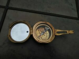 Vintage Brass Nautical Miners Compass Brass Cover India Natural Sine Unique Item