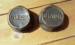Buick Threaded Hubcap Pair Brass Screw on Dust Axle Grease Caps