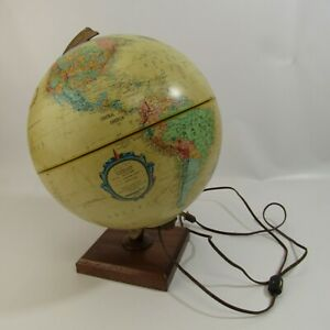 Vintage Replogle Lighted World Globe Spinning 12 Mcm Mid Century Ussr