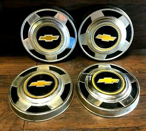 Set Of 4 Vintage 1973 Chevrolet Truck Dog Dish Oem Hubcaps Fits Chevy Pickup