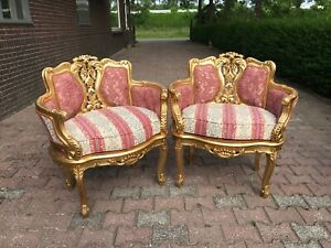 Pair Of Corbeille Chairs In French Louis Xvi Style