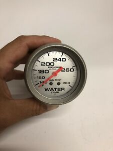 Autometer Ultra Lite Mechanical Water Temp Gauge 2 5 8 Dia Silver Face 4431 Used