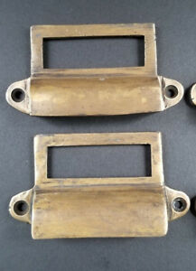 2 Antique Brass File Apothecary Drawer Pull Handles 3 1 4 W Label Holders A17