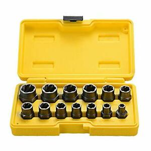 Topec Impact Bolt Nut Remover Set 13 Pieces Nut Extractor Socket