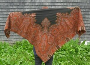 Antique Vintage Kashmir Paisley Wool Shawl Black Center Multi Color 70 X 69