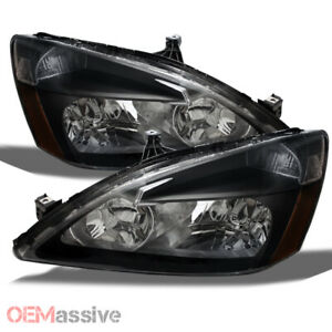 Fits 03 07 Honda Accord Black Headlights Headlamps Left Right Aftermarket Sets
