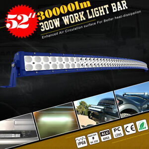 Curved 52 Led Light Bar 300w Combo Blue Work Driving Offroad Truck Boat Suv 4wd